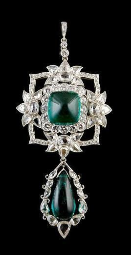 Platinum Diamond & Emerald Pendant  Approx. Diamond Carat Weight 1.42ct. Emerald 11.53ct. and Rose Cut Diamond 3.57ct.