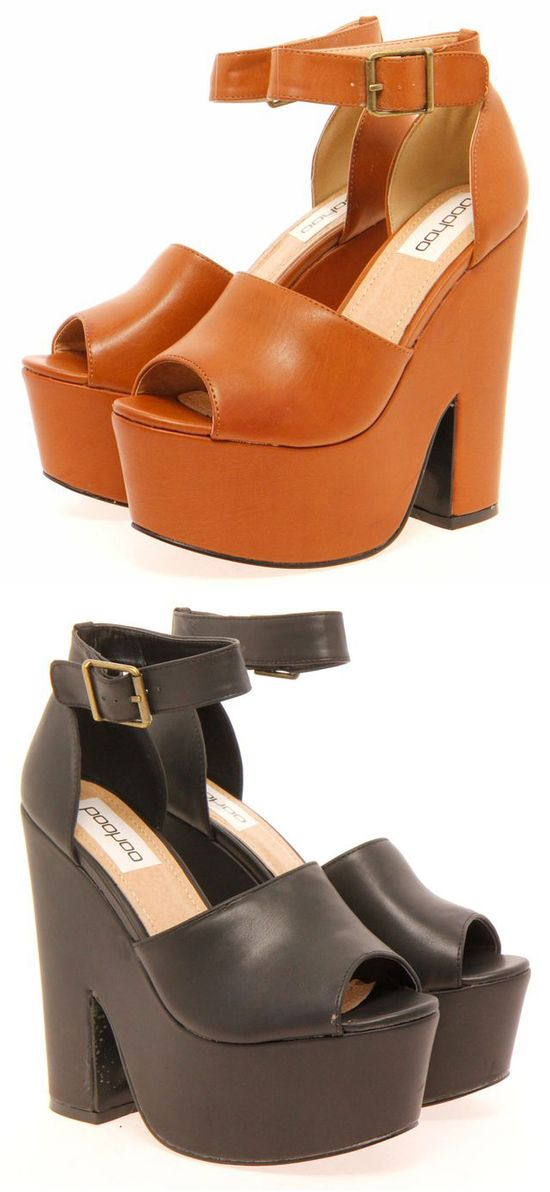 Cute wedges in cognac brown or black! Cute for Fall!! #shoes #wedges #fall #outfit