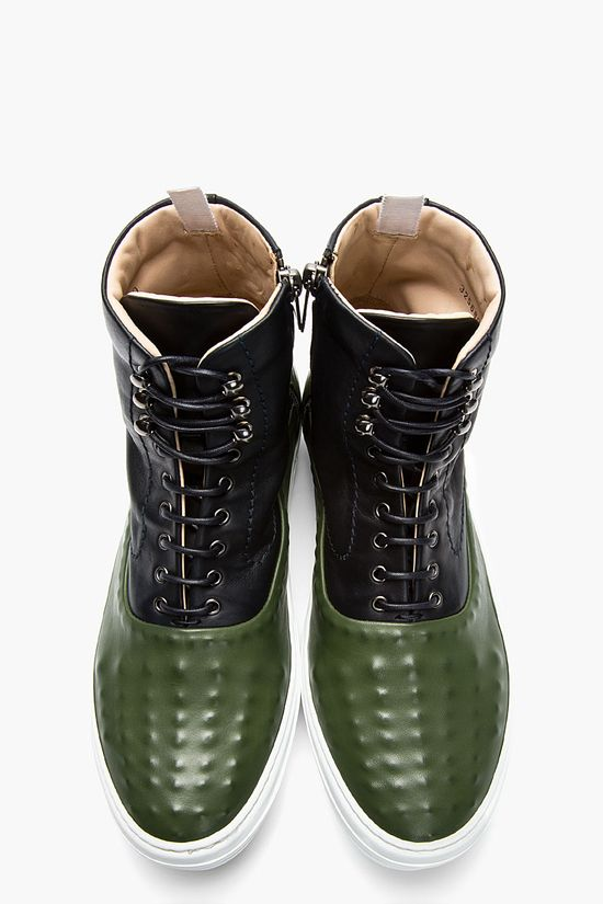 ALEXANDER MCQUEEN Green and navy leather covered stud sneakers
