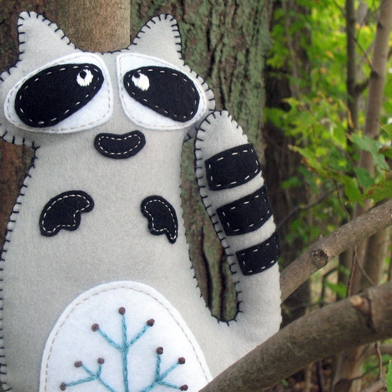 Raccoon Stuffed Animal Hand Sewing PATTERN - Make Your Own Felt Plushie with Hand Embroidery - PDF - Easy. $4.00, via Etsy.