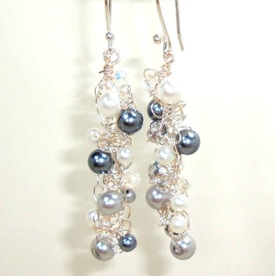 Long Silver Grey & White Cascade Dangle Earrings by lapisbeach