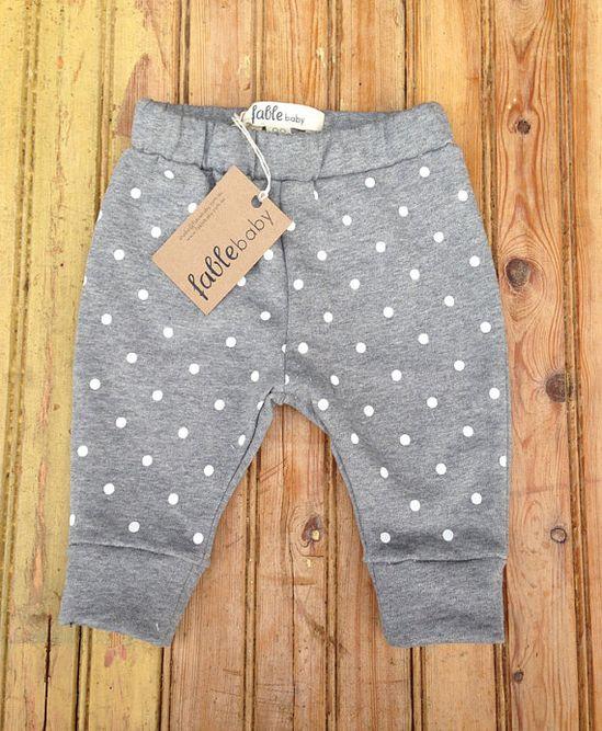 Handmade Unisex Cotton Spot Sweat Pants - White Spots on Grey
