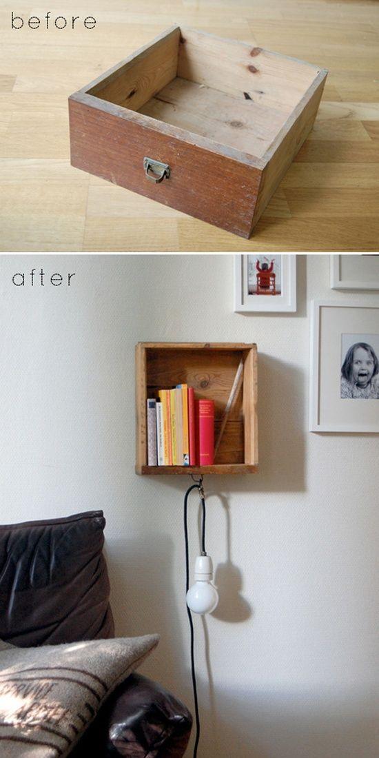 Turn an old drawer into a bedside #interior decorating #home design ideas #home designs #room designs #living room design