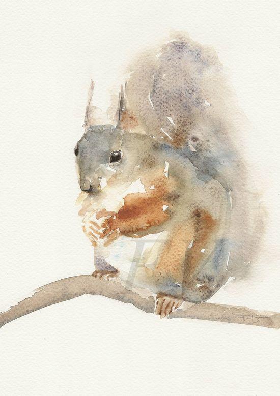 Squirrel Animal Art print watercolor painting by FrancinaMaria
