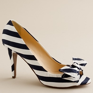 j.crew striped peep-toe pumps