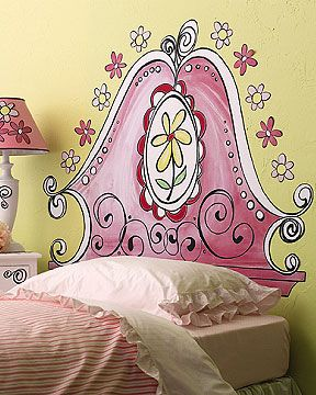 Mural headboard, and the lampshade matches it.