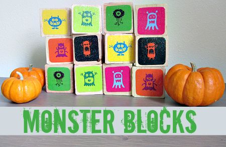 Monster Blocks & Memory Game For Halloween - Pinned by @PediaStaff – Please Visit ht.ly/63sNt for all our pediatric therapy pins