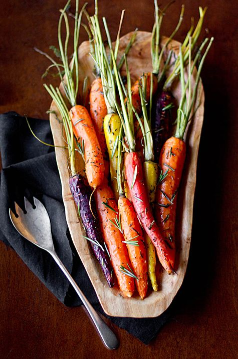rosemary roasted carrots • I can never find carrots that look like these! These are far more appetizing to the eye than plain old cut carrots in a bag