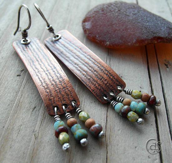 Beaded Copper Earrings Earthy Handmade Jewelry - fun