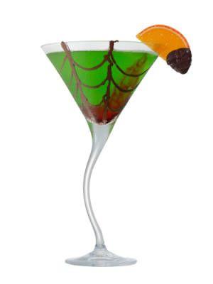 Midori's Spider Kiss - Midori, vodka, lemon, & chocolate sauce Halloween cocktails