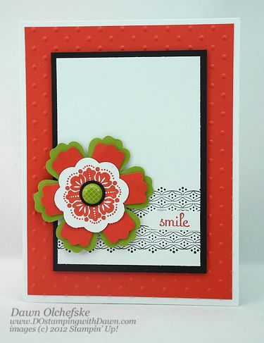 Dawn Olchefske's brilliant idea to use modern label punch with flower die. ETA: Doh! It's a punch not a die, and one we don't have in the UK. Still, will try it with all my dies now.