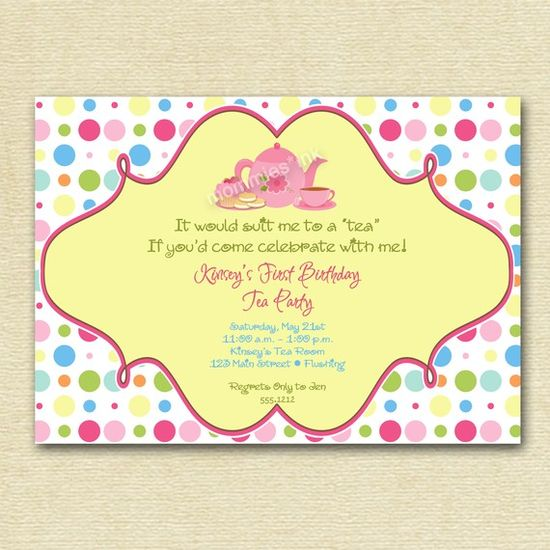 Dotty Tea Party Birthday Invitation  PRINTABLE by MommiesInk, $12.00