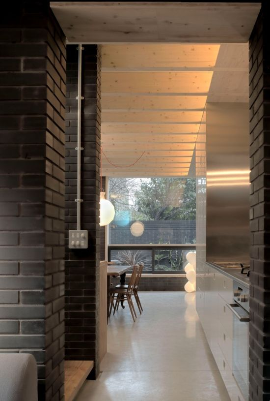 Kitchen View of the Shadow House, the London home of Liddicoat & Goldhill, via Remodelista.