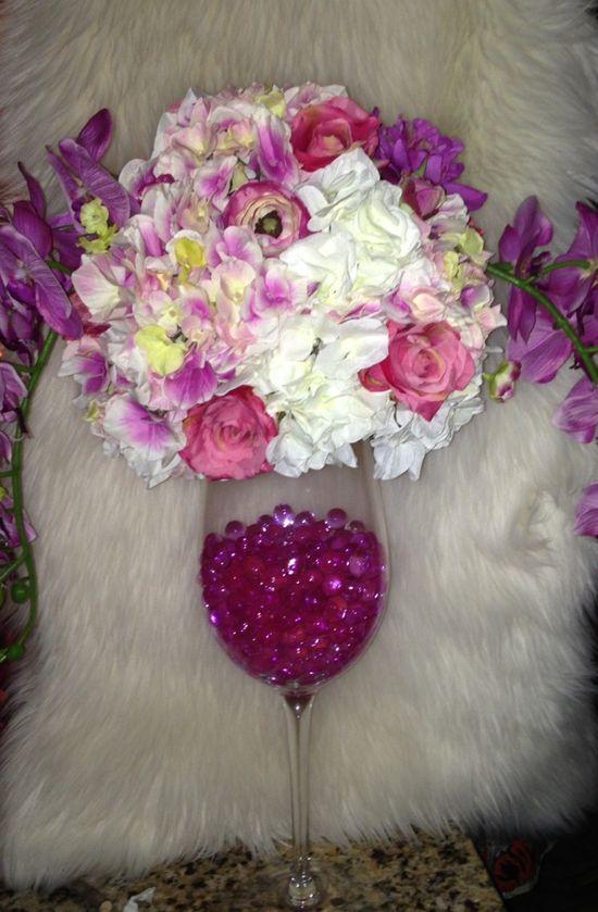 A flower arrangement centerpiece.