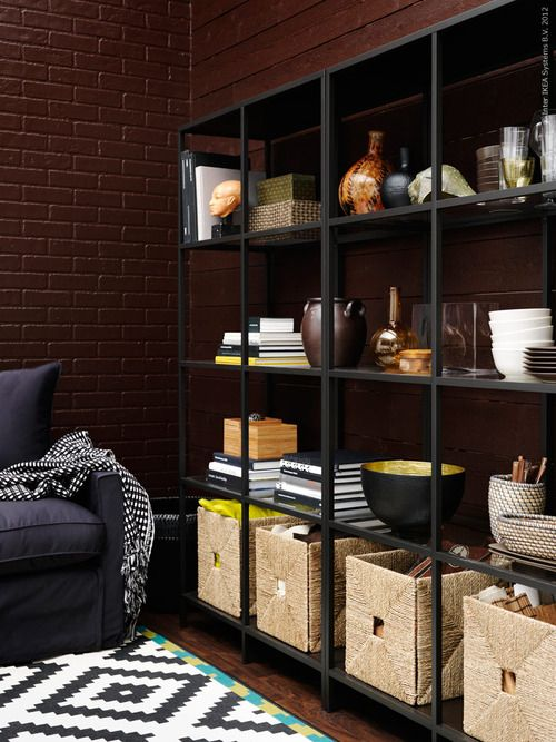 Open shelves and baskets
