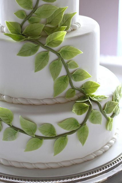 Green Leaves Wedding Cake by The Couture Cakery, via Flickr