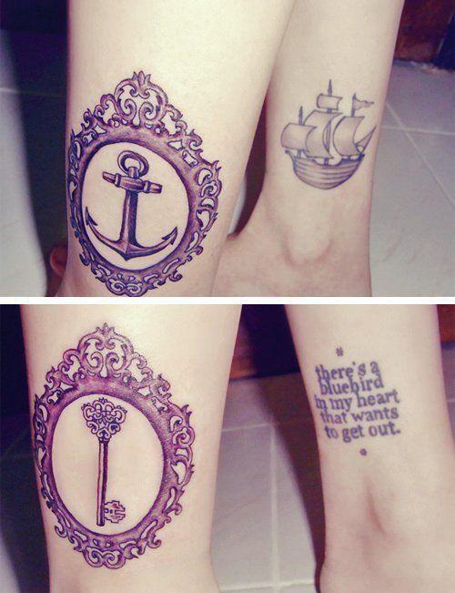 anchor & key tattoo