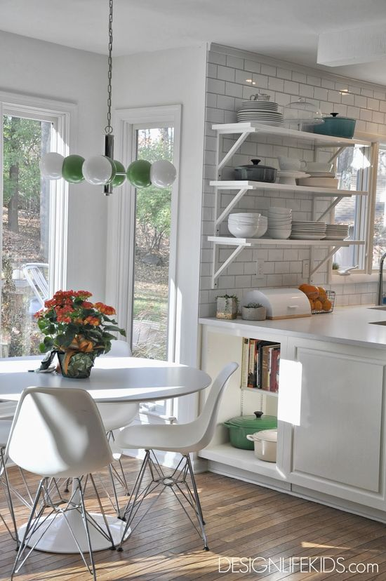 EAT IN KITCHEN with mid century modern furniture and open shelves