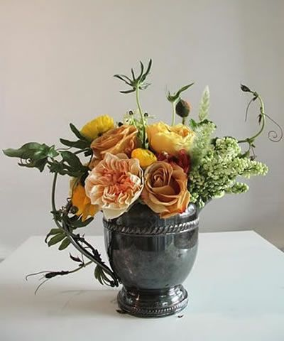romantic arrangement by Sarah Winward, with a perfect fall color combination.