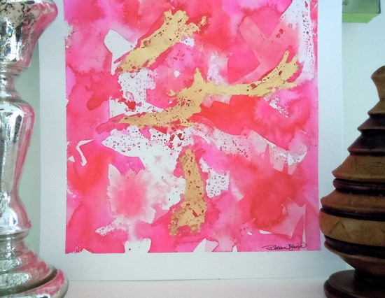 Abstract Lipstick Pink Original Watercolor Painting -  12x12. $95.00, via Etsy.