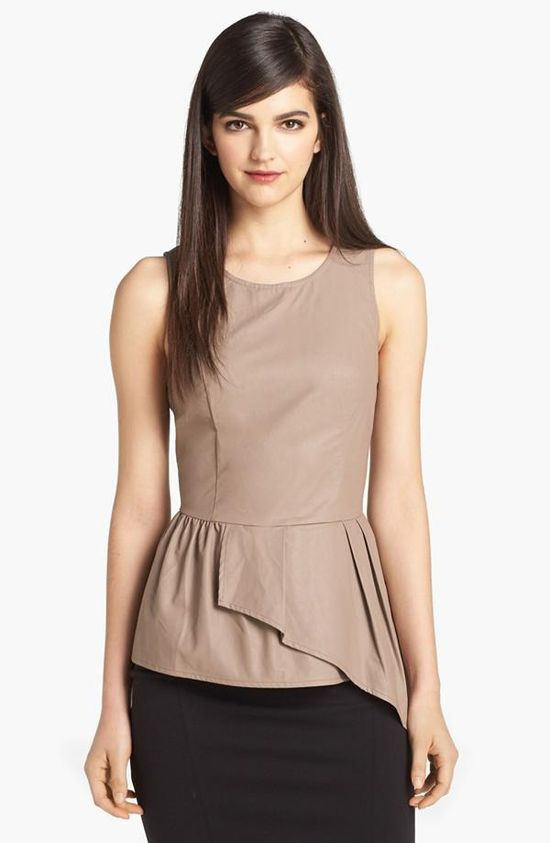 Perfect for the office! Faux Leather Asymmetrical Peplum Top