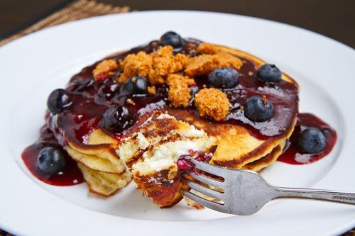 Blueberry Cheesecake Pancakes with Blueberry Syrup and Amaretti crust.~T~YUM