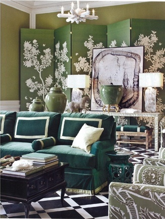 Gorgeous rich palette of greens and golds.