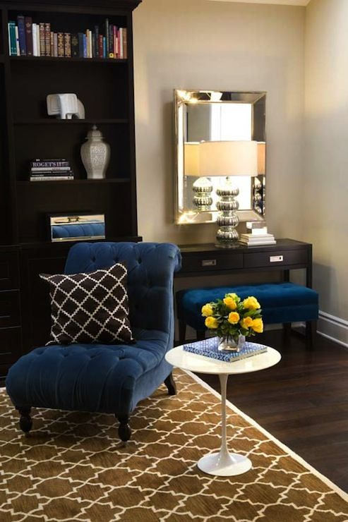 Turquoise LA – Royal blue & chocolate brown chic living room design with beveled mirror...