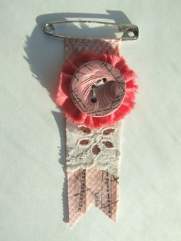 pink gingham button brooch