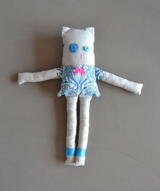 animal doll - teal cat - stuffed animal - nursery decor teal and pink - art deco print - liberty fabric
