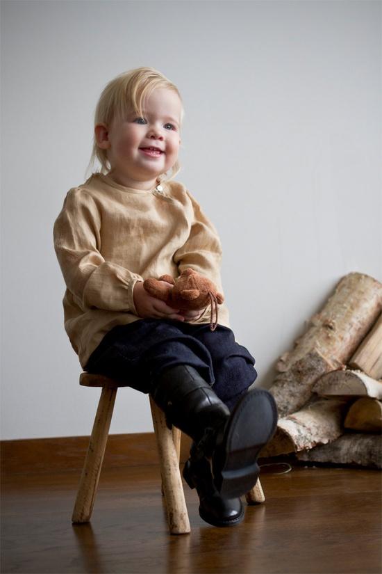 Natural look golden linen cotton shirt for girls - Doro Theus
