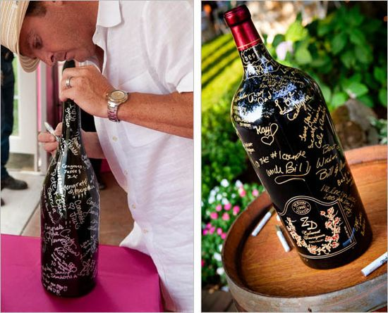 I love this idea of having everyone sign a wine bottle and then drinking it on your first anniversary!  --- 20 Creative Guest Book Ideas For Wedding Reception