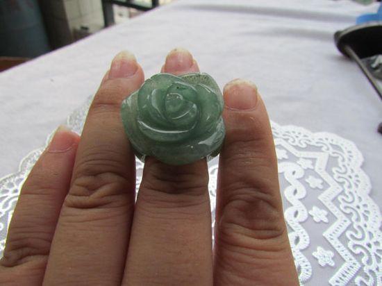 Natural green jadeite jade charm handmade Rose Flower by jade2080, $26.99