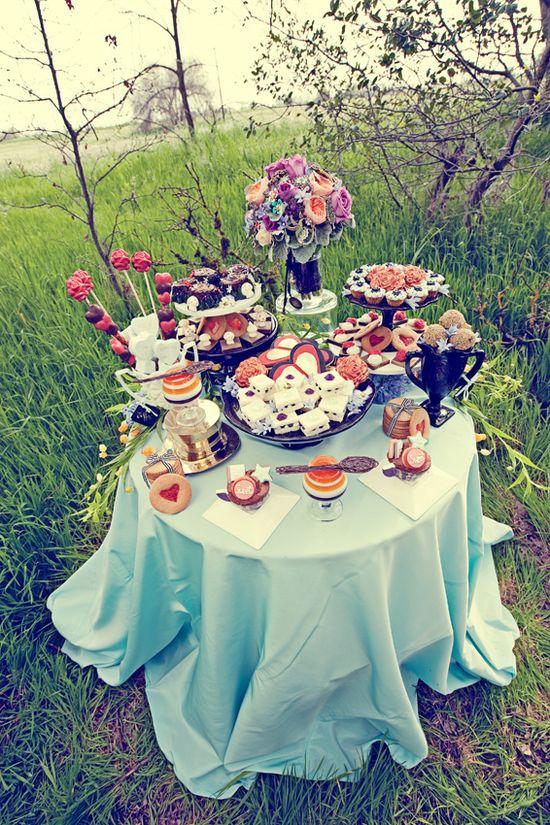 Love this dessert buffet - what a great arrangement for a garden summer party