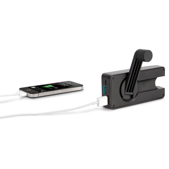 The Hand Crank Emergency Cell Phone Charger - Hammacher Schlemmer