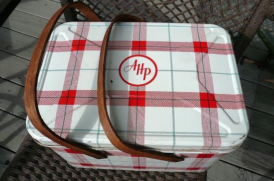 Vintage printed tin picnic basket