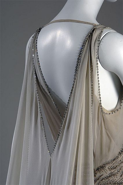 Smoke-grey chiffon court presentation gown with bead and rhinestone embellishment (back detail), by Madeleine Vionnet, French, 1938.