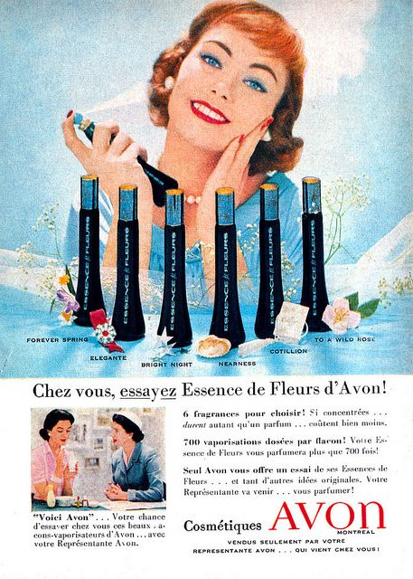 Vintage French Canadian ad for Avon Perfume (1958). #vintage #1950s #beauty #cosmetics #ads