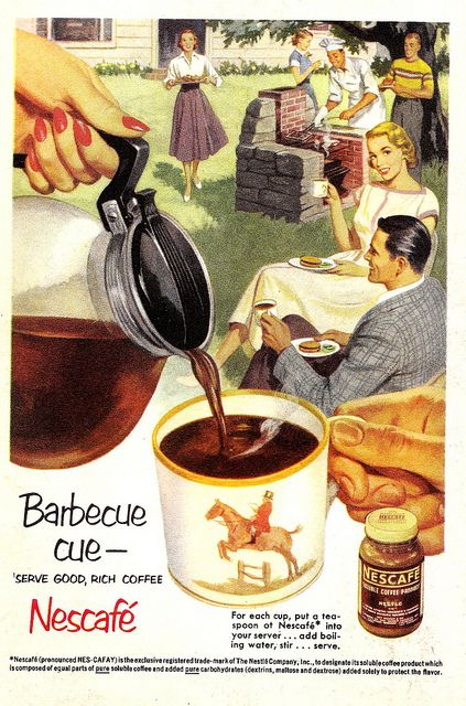 Perhaps it's just me, but on a sweltering summer day, with the heat of a barbeque nearby, I'm not really in the mood for a piping hot cup of java. That said, ice coffee would go down a treat for sure! #coffee #vintage #food #ads #retro #1950s #summer #barbeque #barbecue #bbq