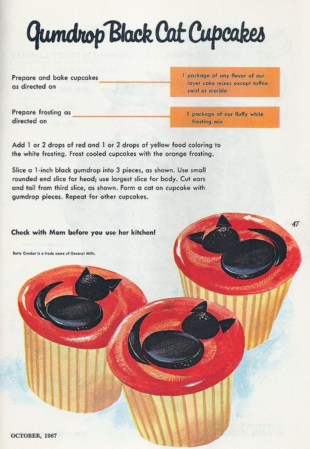Immensely adorable 1960s Betty Crocker recipe for Black Cat Cupcakes (image 2 of 2). #vintage #recipe #1960s #sixties #retro #Halloween #food #cupcakes #cat #black #orange #cute