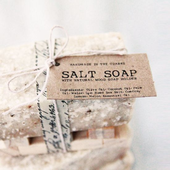 SALT SOAP with wooden soap dish