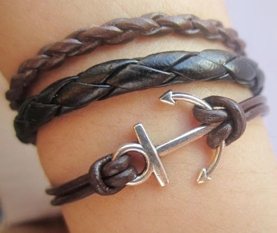 Leather + silver anchor bracelet