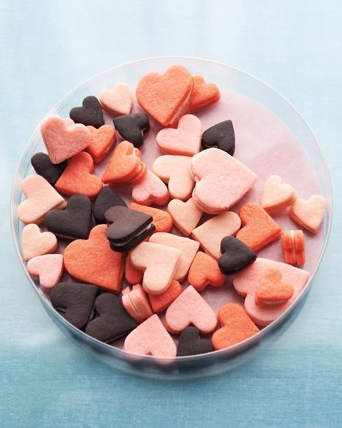 Pink Heart Sandwich Cookies.