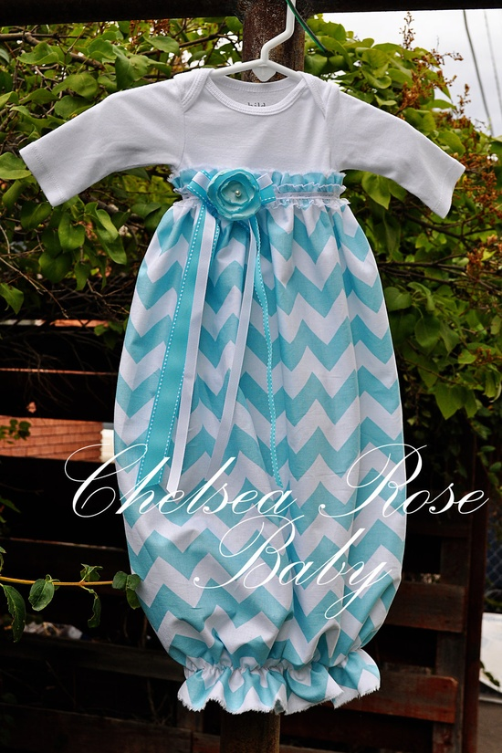 Baby Girl Onesie Dress, Baby Girl Dress, Chevron print, Designer Sleep Gown, Layette, Baby Nightgown, Newborn Sleep Sack, Baby Girl Onesie. $30.00, via Etsy.