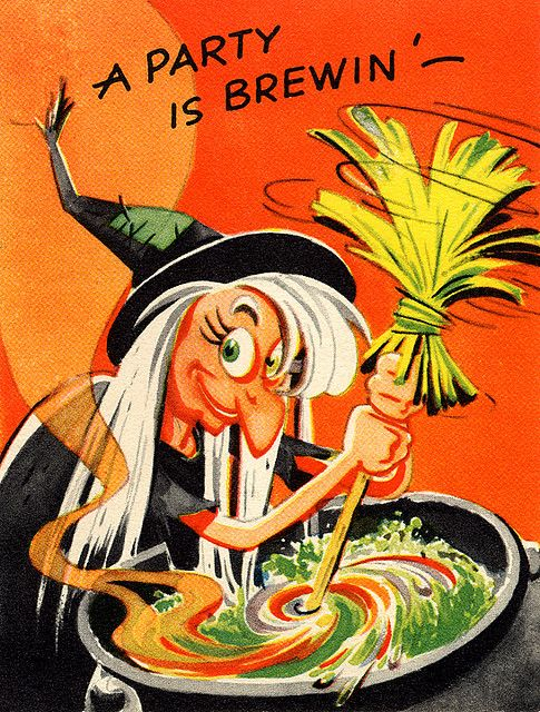 "Vintage Halloween Ephemera ~ ""A Party Is Brewin'"" Invitation"
