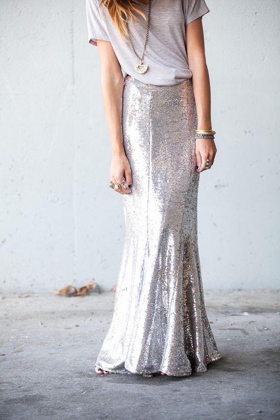 Sequin maxi skirt