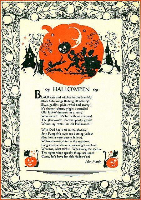 Halloween--A Poem--John Martin's Magazine--Vintage Halloween Illustration