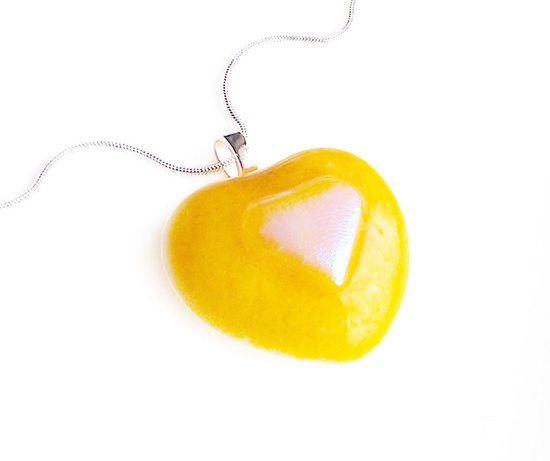 Valentines Yellow Double Heart-Shaped Necklace Pendant - Dichroic Fused Glass Jewelry. $24.00, via Etsy.