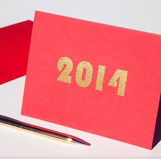 Solid Gold 2014 stationary set set of 4 new by blackbirdandpeacock, $16.00