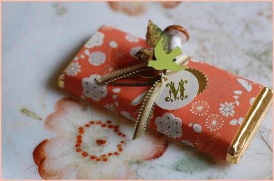 Wrapped candy bar favor.